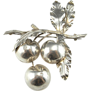 Art Deco circa 1930 Cherry Brooch Jewelry Bouquet Artisan Statement Large Brooches Great Gatsby Downton Abbey Big Studio Handmade One of a Kind Floral Flower Fruit Jewelry