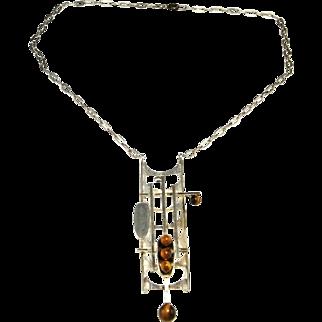 Brutalist Necklace Brutalist Jewelry Geometric Necklace Unisex Necklace Geometric Jewelry Space Necklace Star Trek Necklace Modernist Silver 1960s 1970s 60s 70s Artisan Studio Statement Sculptural