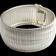 Minimalist Bracelet Sterling Silver Bracelet Wide Bracelet Cuff Bracelet Bangle Bracelet 1970s Jewelry Engraved Bracelet Space Bracelet 925