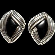 Onyx Cabochon Earrings Statement Earrings Artisan Earrings Sterling Silver Earrings Clip On Earrings Big Earrings Large Earrings Retro 925 Chunky Retro Jewelry Statement Handmade Designer 80s 1980s