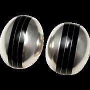 Onyx Cabochon Earrings Statement Earrings Artisan Earrings Sterling Silver Earrings Clip On Earrings Big Earrings Large Earrings Retro 925 Space Star Trek 80s 1980s Retro Jewelry Dome Button
