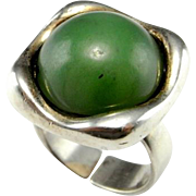 Green Jade Ring Jade Cabochon Ring Natural Jade Nephrite Jade Modernist Ring Mid Century Ring Modernist jewelry Minimalist Ring Signet Ring 1950s 1960s 1970s German Jewelry