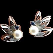 Pearl Clip On Earrings Pearl Clip Earrings Blue Topaz Earrings Floral Earrings Leaf Earrings Artisan Earrings Bridal Earrings Wedding Silver Modernist 1950s 1960s 1970s Artisan Jewelry