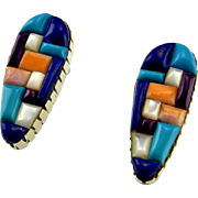 Cobblestone Inlay Earrings Old Pawn Turquoise Earrings Old Pawn Jewelry Native American Earrings American Indian Earrings Tear Drop Earrings Multistone Lapis Lazuli Sugilite Multigem Artisan Boho Tear Drop