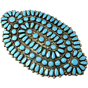 Navajo Brooch Pin Navajo Pendant Navajo Jewelry Natural Turquoise Cabochon Brooch Old Pawn Turquoise Jewelry Statement Jewelry Silver Pin Massive Antique Art Deco Huge Ceremonial Native American Indian