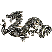 Dragon Brooch Dragon Pin Dragon Jewelry Marcasite Brooch Sterling Silver Game of Thrones Jewelry Statement Brooch Chinese Dragon Retro 925