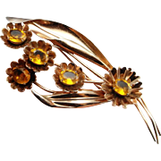 Art Deco Brooch Art Deco Pin Antique Paste Jewelry Yellow Jewelry Gatsby Jewelry Downton Abbey Bouquet Brooch Daisy Jewelry Floral Brooch Bouquet Corsage Large Statement Bohemian 40s 1940s
