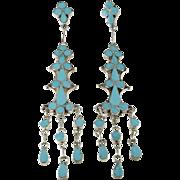 Native American Earrings Boho Earrings Old Pawn Turquoise Earrings Long Earrings Ethnic Earrings Inlay Earrings Chandelier Earrings Bohemian