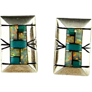 Native American Earrings Native American Jewelry Inlay Earrings Old Pawn Turquoise Jewelry Navajo Jewelry Geometric Earrings 925 Dainty Artisan Studio American Indian Handmade Natural Turquoise