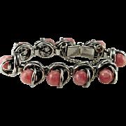 Rhodochrosite Bracelet Rhodochrosite Jewelry Rhodochrosite Cabochon Ball Bracelet Modernist Bracelet Modernist Jewelry 1970s Jewelry 1960s Pink Statement Designer Mid Century Geometric Space Age Atomic Jewelry