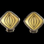 Yellow Earrings 1950s Earrings Clip on Earrings Non Pierced Earrings 1950s Jewelry Modernist Earrings Retro Earrings Minimalist Earrings 925