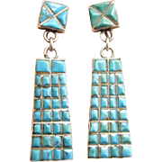 Navajo Earrings Navajo Jewelry Art Deco Earrings 1930s Earrings Antique Turquoise Old Pawn Native American Jewelry Old Pawn Turquoise 925 Natural Turquoise Cabochon Artisan