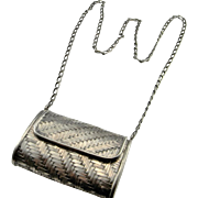 Sterling Silver Handbag Unique Bags Silver Purse Woven Basket with Lid Woven Bag 80s Jewelry Statement Piece Evening Bag Coin Purse 925 Shoulder Woven Evening Small Petite