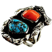 Large Turquoise Ring Unisex Ring Red Coral Ring Old Pawn Turquoise Navajo Ring Rustic Ring Artisan Ring Brutalist Jewelry 1970s Jewelry 925 Sterling Silver Statement One of a Kind Unique Handmade Native American Indian