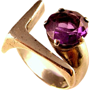 Synthetic Alexandrite Ring Purple Sapphire Ring Sterling Silver Ring 1950s Ring Mid Century Ring Modernist Ring Unisex Ring Mens Signet Ring