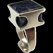 Lapis Lazuli Silver Ring Cube Ring Geometric Ring Boho Ring Bohemian Ring Artisan Ring 1970s Jewelry 1960s Jewelry Mid Century Ring Modernist Ring Silver Signet Ring Artisan Studio Industrial Boho Bohemian Unisex