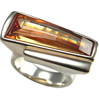 Madeira Citrine Ring Fantasy Ring Chunky Sterling Silver Ring Chunky Jewelry Statement Ring Huge Ring Modernist Ring Space Ring Geometric Modernist Jewelry Huge Ring Big Ring Unisex
