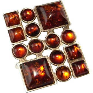 Honey Amber Ring Amber Jewelry Cabochon Ring Geometric Ring Statement Ring Space Ring Minimalist Ring Unisex Ring Modernist Ring Artisan 925 1950s 1960s 1970s Large Sterling Silver Baltic Amber