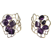 Amethyst Earrings Silver Statement Earrings Space Earrings Chunky earrings Clip On Earrings Ear Clips Cabochon Earrings Modernist Jewelry Minimalist Space Age Retro Geometric Biomorphic 1950s 1960s 1970s