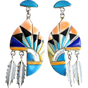 Turquoise Inlay Sterling Silver Chandelier Earrings Old Pawn Turquoise Earrings Zuni Native American Jewelry Drop Dangle Earrings Feather Colorful Artisan Inlaid Multistone Multigem Rainbow Dangle Drop 925 Vintage Estate