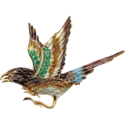 Bird Brooch Bird Pin Bird Jewelry Enamel Brooch Filigree Jewelry Vintage Silver Brooch Dainty jewelry Animal Brooch Pin Jewelry Artisan Sparrow Jewelry 1940s 1950s Artisan Delicate Pretty