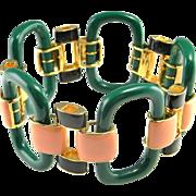 Modernist Bracelet Jewelry Geometric Bracelet Wide Bracelet Green Bracelet Sterling Silver Gold Plated Bracelet Space Jewelry Chunky 925 Space Chunky Statement Luxury Estate Boho Bohemian Enamel Pink Green Black