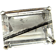Tourmalinated Quartz Crystal Tourmalinated Quartz Stone Space Brooch Pin Sterling Silver 925 Modernist Brooch Pin Jewelry Unisex Star Trek Minimalist Retro 1950s 50s 1960s 60s 1970s 70s Geometric Emerald Cut Rock Crystal Herkimer Diamond Jewelry
