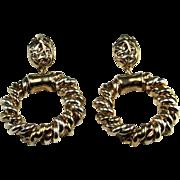 Electroform Earrings Vermeil Gold Plated Sterling Silver Clip On Ear Clips Large Earrings Big Earrings 1980s 80s Jewelry Statement Melted Non Pierced Artisan Chandelier Drop Dangle Geometric Space Age Star Trek