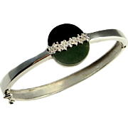 Unisex Nephrite Jade Onyx Silver Artisan Bangle Bracelet 1950s 1960s 1970s Mid Century Bracelet Modernist Bracelet Space Star Trek Unisex Retro Geometric Minimalist Jewelry