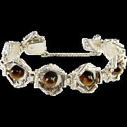 Tigers Eye Silver Bangle Bracelet Modernist Unisex Bracelet Mid Century Jewelry Cabochon 1950s Star Trek Geometric 1960s 1970s Artisan Sterling 925 Designer Artisan Jewelry