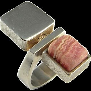 Unisex Rhodochrosite Ring Slice Cube Jewelry Modernist 1950s 1960s 1970s Ring Mid Century Ring Geometric Minimalist Artisan Star Trek Space Boho Bohemian
