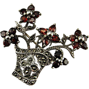 Flower Basket Brooch Marcasite Jewelry Art Deco Great Gatsby 1940s Jewelry Pin Sterling Silver Garnet Giardinetti Brooch Jewelry 925 Vintage