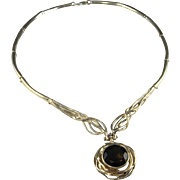 Celtic Silver Necklace Smoky Quartz Pendant Necklace 14K Gold 925 Sterling Silver Artisan Boho Necklace Bohemian Nature Necklace Modernist Renaissance Medieval Tudor Hand Wrought Space