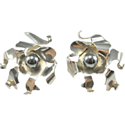 Hematite Statement Earrings Silver 925 Sterling Chunky Earrings Modernist Earrings 1980s Jewelry 80s Earrings Vintage Artisan Earrings 925 Sunflower Sphere Brutalist Space Star Trek Flower Statement
