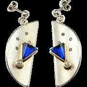 BLUE Cone Earrings Half Moon Earrings Sterling Silver Drop Earrings Space Earrings Modernist Earrings 1970s Earrings Star Trek Earrings 925 Paste Pastes Jewelry Dangle Chandelier