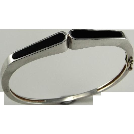 Onyx Bangle Bracelet Onyx Sterling Silver Bracelet Modernist Bracelet Modernist Bangle 1950s 1960s 1970s Mid Century Jewelry 925 Inlay Fine