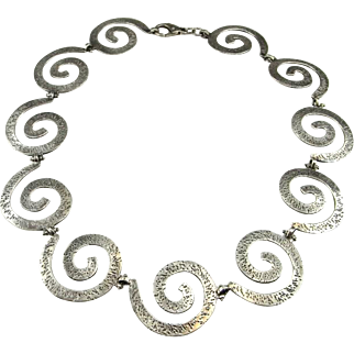Back to listings Spiral Necklace Sterling Silver Artisan Necklace 1950s Necklace Jewelry Mid Century Necklace Modernist Necklace Swirl Necklace Space Retro
