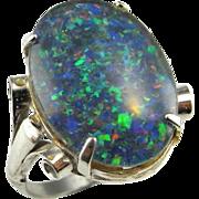 Opal Triplet Ring Opal Triplet Cabochon Vintage Opal Ring Australian Opal Ring Estate Opal Ring Fiery Opal Ring Blue Rainbow Silver Ring 1940s 1950s Mid Century October Birthstone Jewelry Artisan Boho Bohemian Big