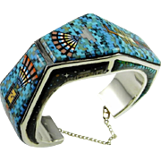 Turquoise Cuff Bangle Bracelet Sterling Silver Signed 925 Unique One of a Kind Multigem Multicolor Micromosaic Fine Vintage Micro Inlay Inlaid Southwestern Fine Sterling Silver Custom Moon Bangle Cuff Museum Quality Kachina Tribal Night Sky Stars