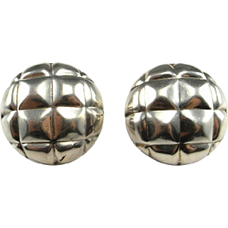 Silver Dome Earrings Sterling Silver Button Earrings Modernist Earrings Circle Earrings Space Age Jewelry Space Earrings Statement 925