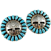 Large Turquoise Earrings Native American Earrings American Indian Earrings Navajo Earrings Turquoise Cabochon Earrings Old Pawn Jewelry 925