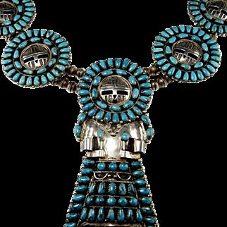 Old Pawn Turquoise Necklace Kachina Natural Turquoise Cabochon Necklace Old Pawn Native American Jewelry Statement Necklace Boho Bohemian Native American Indian Navajo Massive Statement