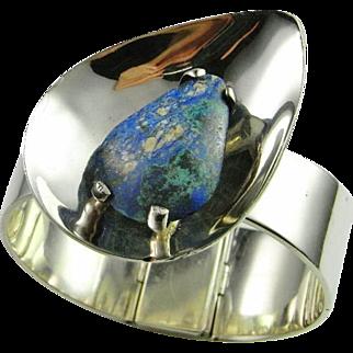 Bold Modernist Silver Bangle Bracelet Cuff 925 Wide Custom Designer Mid Century Modernist Sterling Silver Bangle Azurmalachite Hand Made Azurite Malachite Handmade Unique One of a Kind 1940s Mexican Silver Jewelry Art Deco