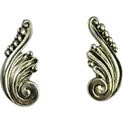 Art Deco Silver Earrings 1930s Handmade Designer Signed Sterling Silver Earrings Screw Back Margot de Taxco Rare Scroll Earrings Unique One of a Kind 1940s Mexican Silver Retro Screw On Non Pierced Classic Elegant Chunk Statement Unique