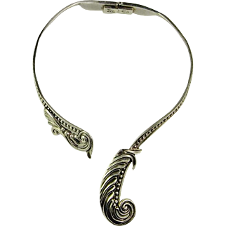 Art Deco Sterling Silver Collar Necklace Choker 925 Asymmetric Scroll Jewelry 1930s 1940s Handmade Hand Made Designer Signed Sterling Silver Collar Necklace Margot de Taxco Rare Mexican Jewelry Downton Abbey Great Gatsby Hinged