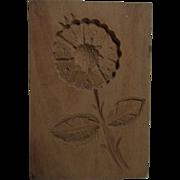 Vintage German Carved Wood Springerle Cookie Mold Flower