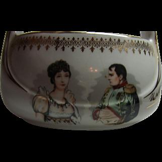 Vintage French Porcelain Basket Napoleon Bonaparte and Josephine