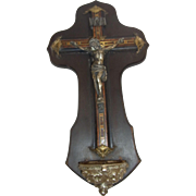Antique French Cross Holy Water Font Wood & Brass Inlays ca.1890
