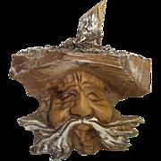 Vintage Austria Black Forest Carved Wood Ornament Bearded Man