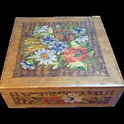 Vintage German Folk Art Wood Box Hand Painted Field Flower